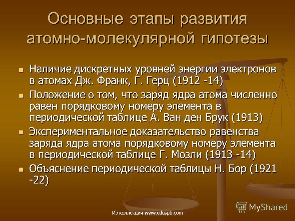 Основные этапы развития атомно-молекулярной гипотезы Наличие дискретных уровней энергии электронов в атомах Дж. Франк, Г. Герц (1912 -14) Наличие дискретных уровней энергии электронов в атомах Дж. Франк, Г. Герц (1912 -14) Положение о том, что заряд