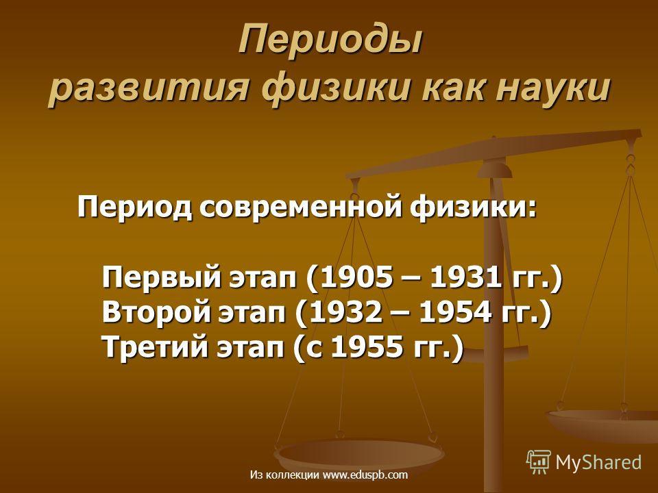 Период современной физики: Первый этап (1905 – 1931 гг.) Второй этап (1932 – 1954 гг.) Третий этап (с 1955 гг.) Периоды развития физики как науки Из коллекции www.eduspb.com