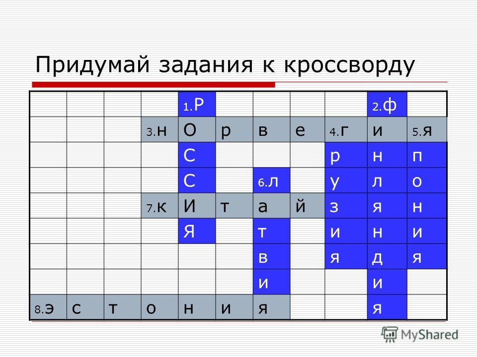 Придумай задания к кроссворду 1. Р 2. ф 3. нОрве 4. ги 5. я Срнп С 6. луло 7. кИтайзян Ятини вядя ии 8. эстонияя