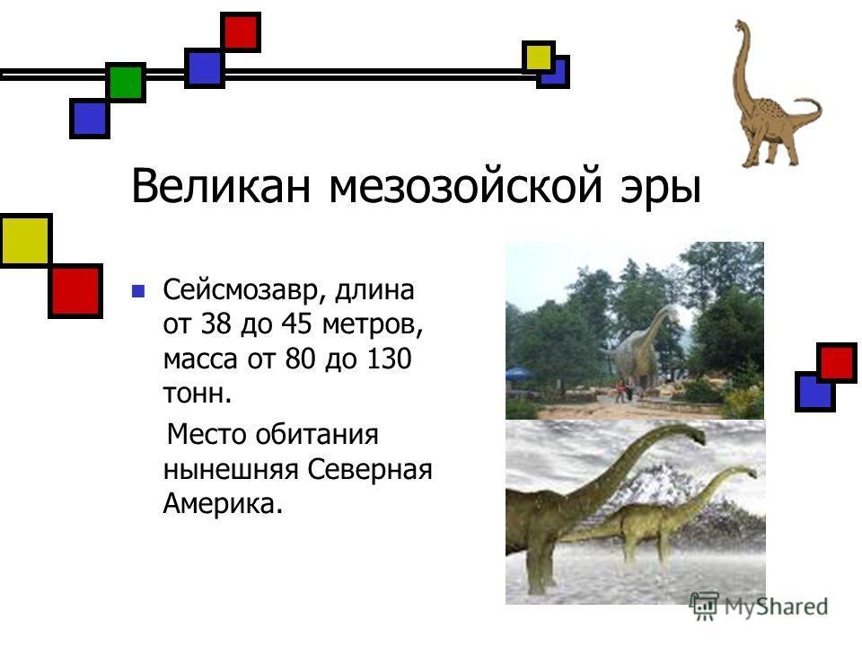 Великан мезозойской эры Сейсмозавр, длина от 38 до 45 метров, масса от 80 до 130 тонн. Место обитания нынешняя Северная Америка.