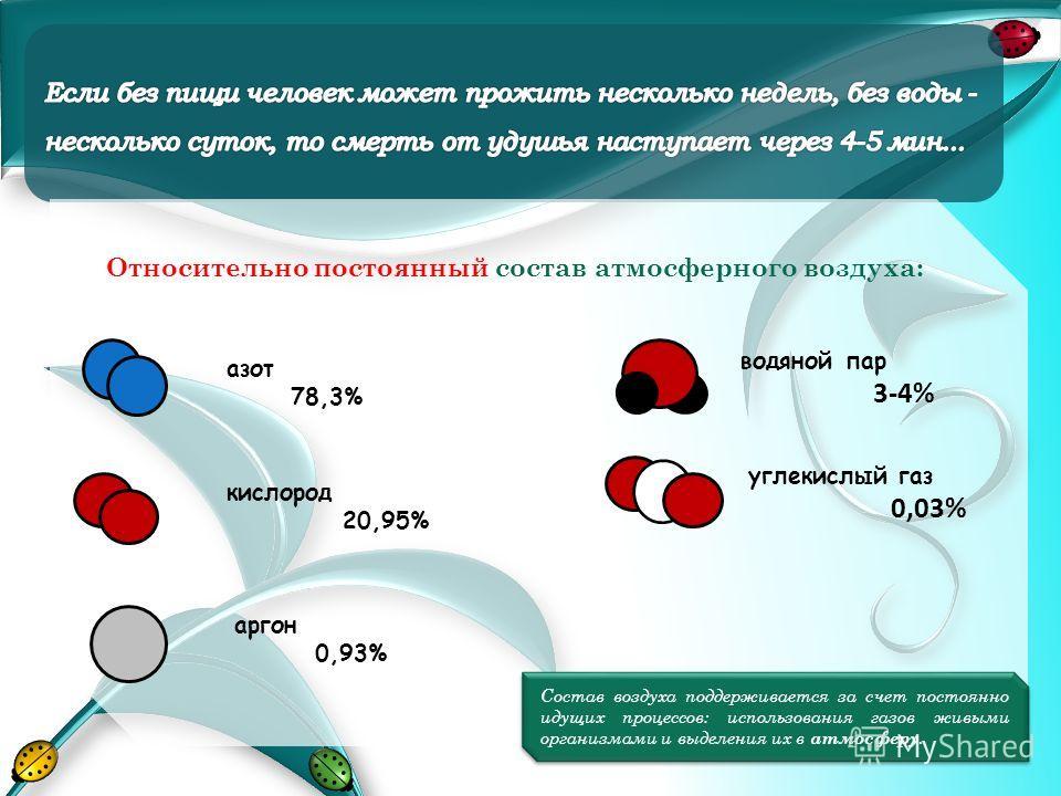 Относительно постоянный состав атмосферного воздуха: водяной пар 3-4% углекислый газ 0,03% азот 78,3% кислород 20,95% аргон 0,93% Состав воздуха поддерживается за счет постоянно идущих процессов: использования газов живыми организмами и выделения их