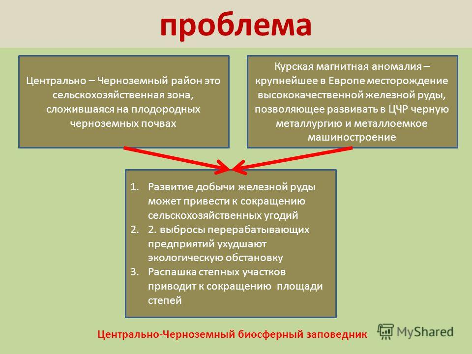 проблема Центрально – Черноземный район это сельскохозяйственная зона, сложившаяся на плодородных черноземных почвах Курская магнитная аномалия – крупнейшее в Европе месторождение высококачественной железной руды, позволяющее развивать в ЦЧР черную м