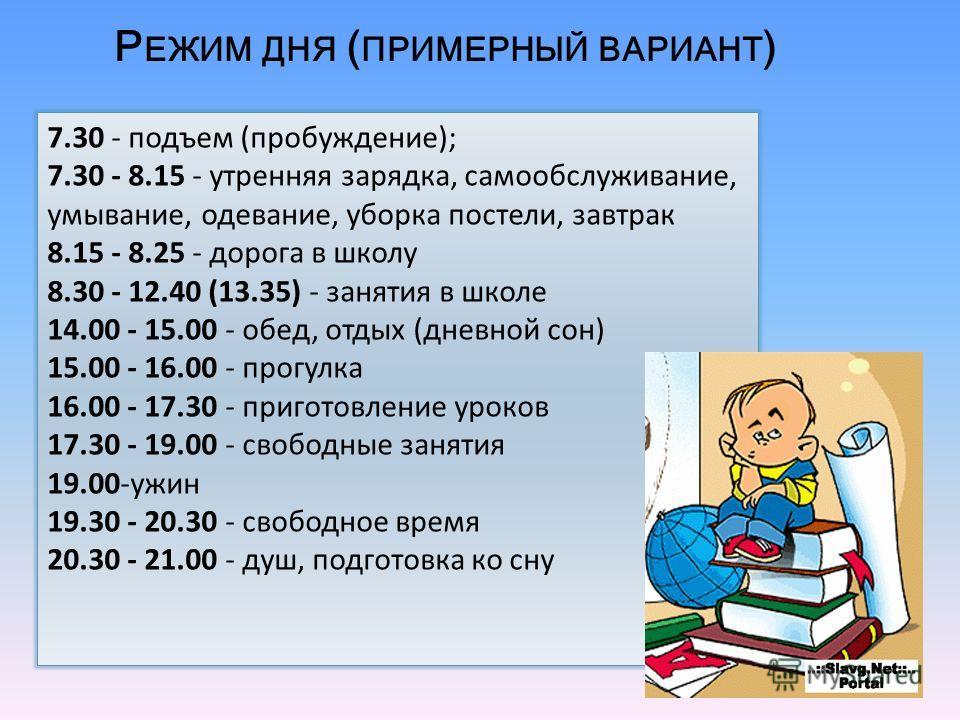 7.30 - подъем ( пробуждение ); 7.30 - 8.15 - утренняя зарядка, самообслуживание, умывание, одевание, уборка постели, завтрак 8.15 - 8.25 - дорога в школу 8.30 - 12.40 (13.35) - занятия в школе 14.00 - 15.00 - обед, отдых ( дневной сон ) 15.00 - 16.00