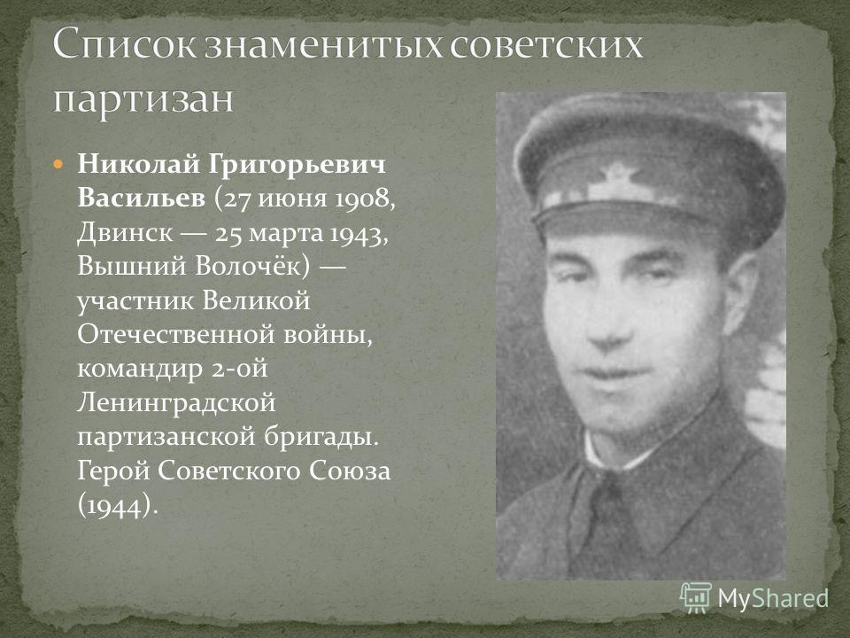 Николай Григорьевич Васильев (27 июня 1908, Двинск 25 марта 1943, Вышний Волочёк) участник Великой Отечественной войны, командир 2-ой Ленинградской партизанской бригады. Герой Советского Союза (1944).