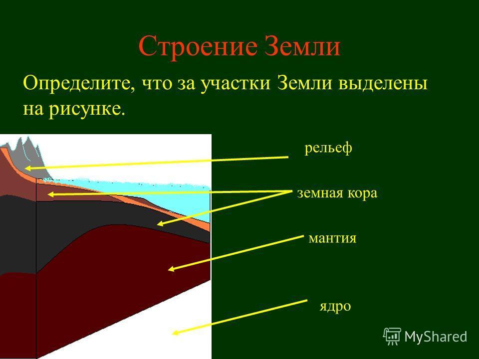 Строение Земли Определите, что за участки Земли выделены на рисунке. мантия земная кора рельеф ядро