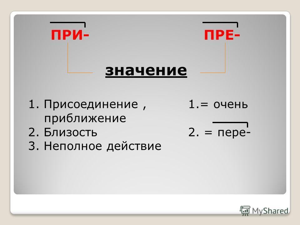 1. Присоединение, приближение 2. Близость 3. Неполное действие ПРИ- ПРЕ- значение 1.= очень 2. = пере-