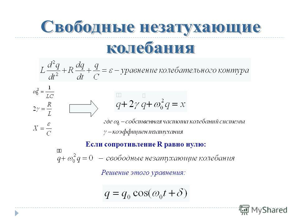 Если сопротивление R равно нулю: Решение этого уравнения: