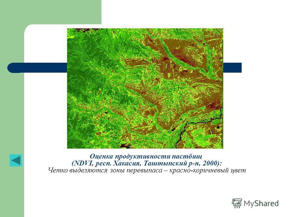 Оценка продуктивности пастбищ (NDVI, респ. Хакасия, Таштыпский р-н, 2000): Четко выделяются зоны перевыпаса – красно-коричневый цвет