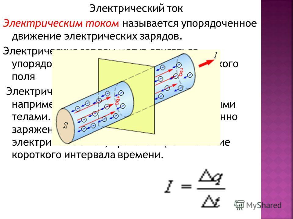 Электрический ток Электрическим током называется упорядоченное движение электрических зарядов. Электрические заряды могут двигаться упорядоченно под действием электрического поля Электрическое поле может быть создано, например, двумя разноименно заря