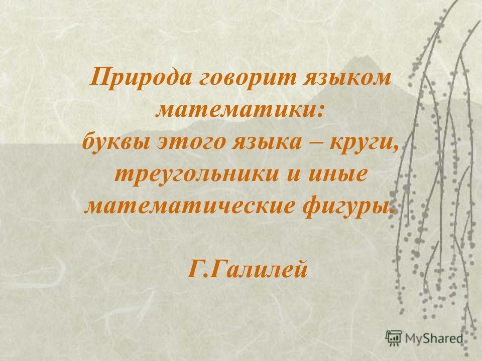 Природа говорит языком математики: буквы этого языка – круги, треугольники и иные математические фигуры. Г.Галилей
