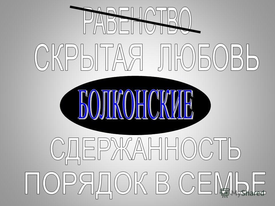 Семья Болконских. Каковы взаимоотношения между членами семьи Болконских? Составляют ли они «породу», как Ростовы? Что общего у них у всех? Что скрывается за внешней суровостью старика Болконского? Наиболее яркие, на ваш взгляд, детали в изображении в