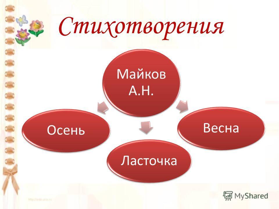 Стихотворения Майков А.Н. ОсеньВеснаЛасточка