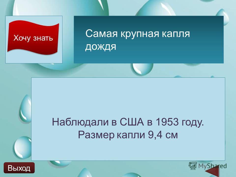 Хочу знать Наблюдали в США в 1953 году. Размер капли 9,4 см Самая крупная капля дождя Выход