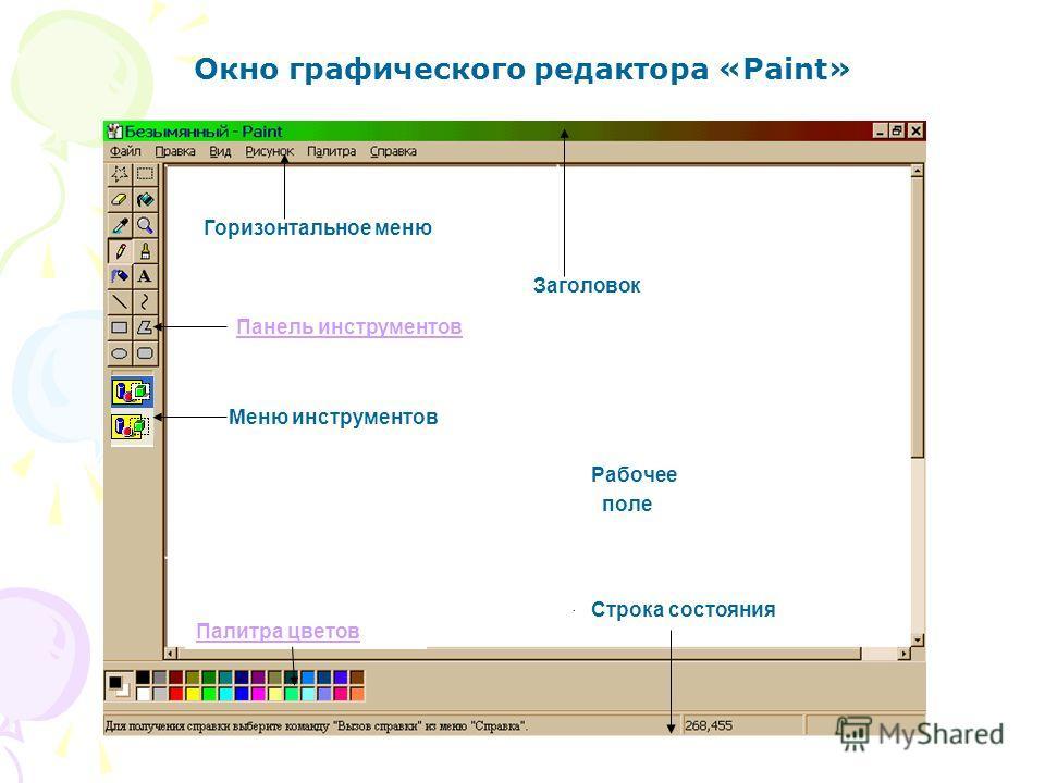 Горизонтальное меню Заголовок Панель инструментов Меню инструментов Рабочее поле Палитра цветов Строка состояния Окно графического редактора «Paint»