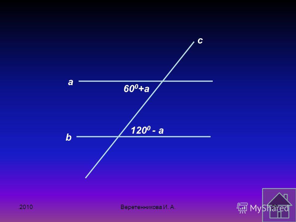 .2010 a b c 60 0 +a 120 0 - a 20Веретенникова И. А.