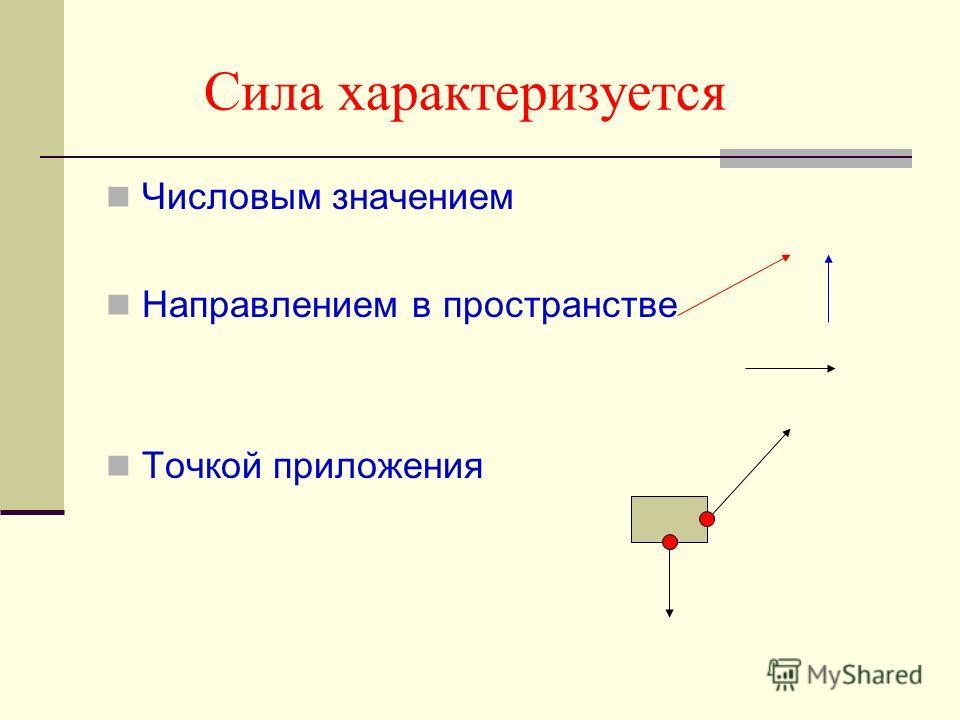 Сила характеризуется Числовым значением Направлением в пространстве Точкой приложения
