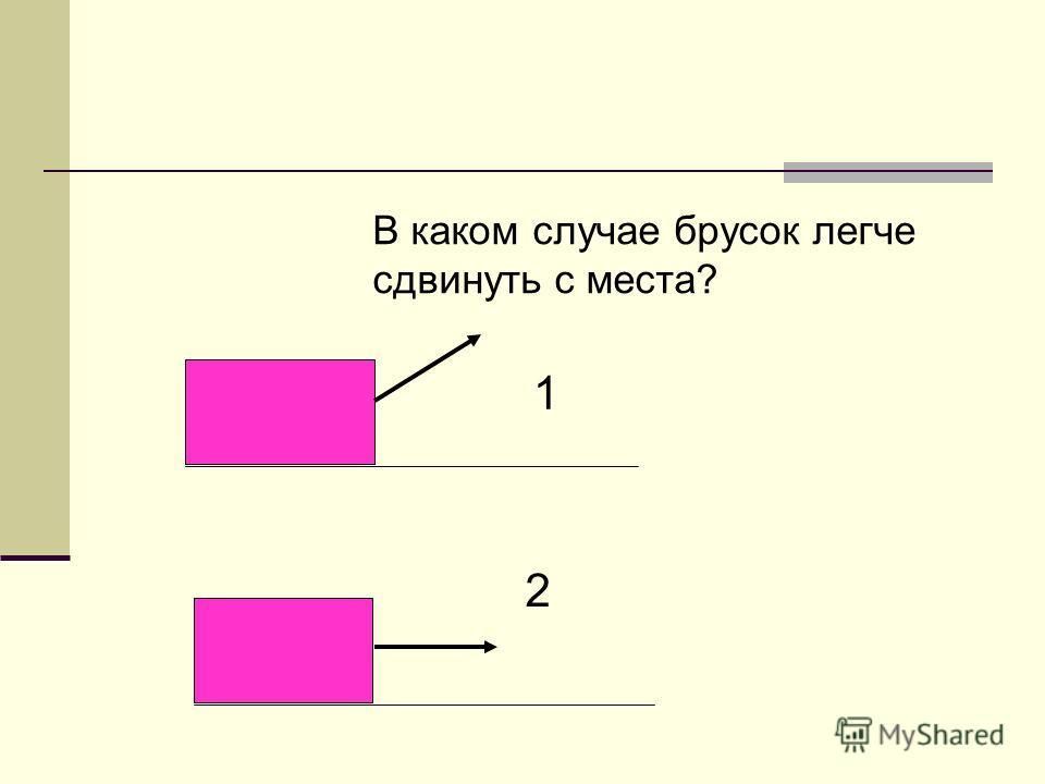В каком случае брусок легче cдвинуть с места? 1 2