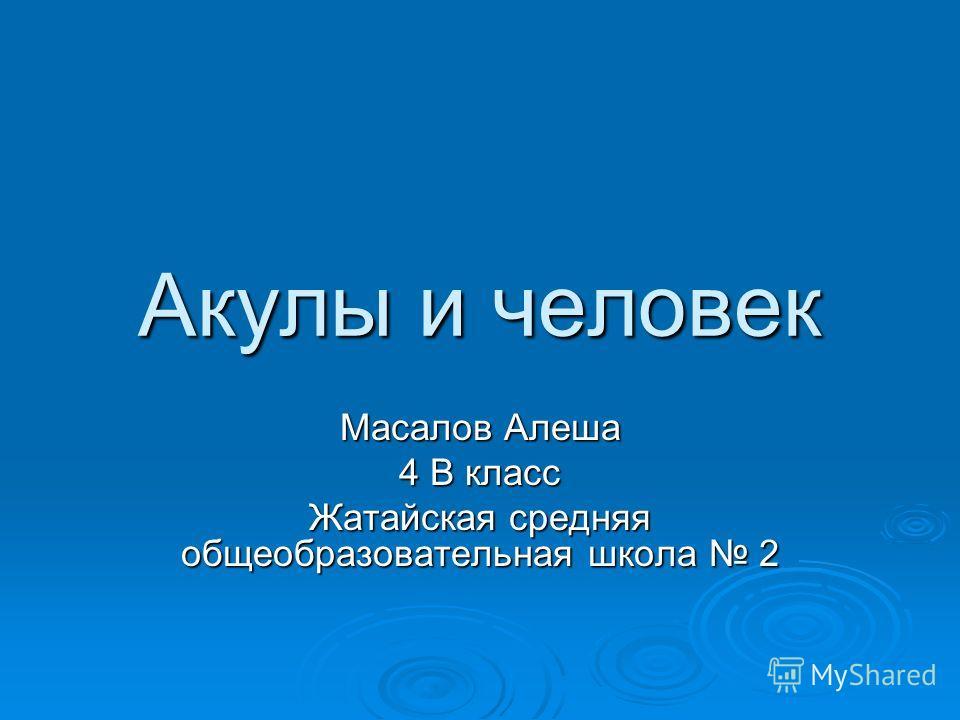 Акулы и человек Масалов Алеша 4 В класс Жатайская средняя общеобразовательная школа 2