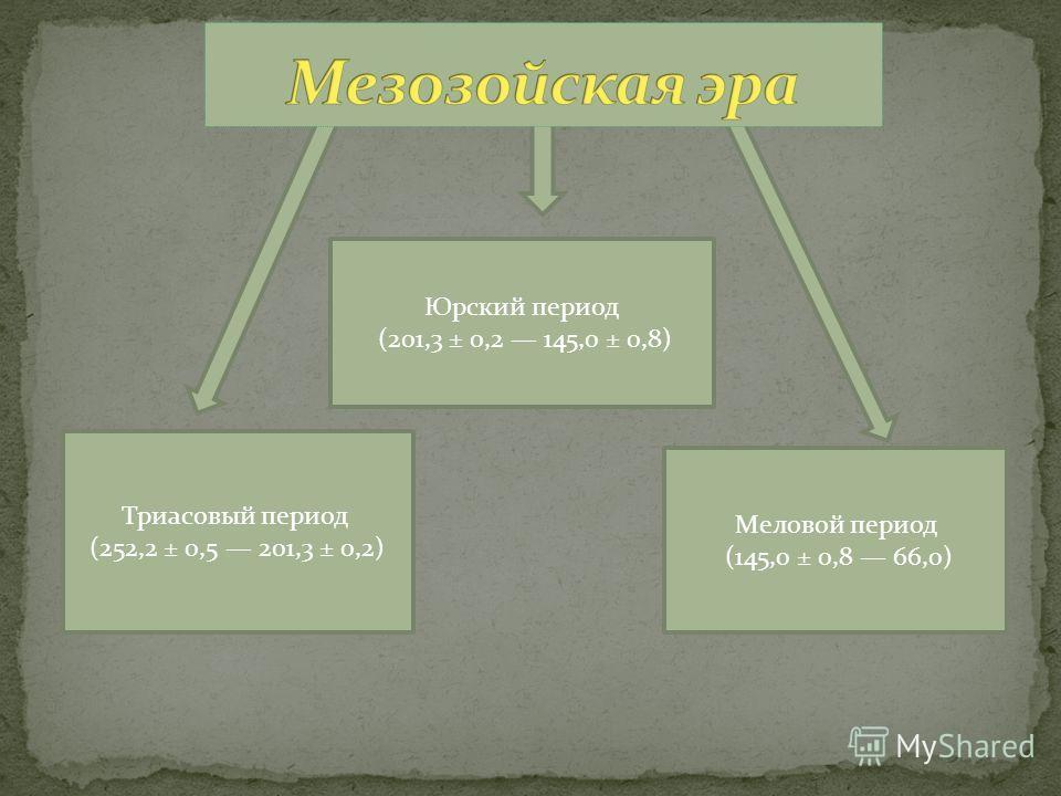 Триасовый период (252,2 ± 0,5 201,3 ± 0,2) Юрский период (201,3 ± 0,2 145,0 ± 0,8) Меловой период (145,0 ± 0,8 66,0)