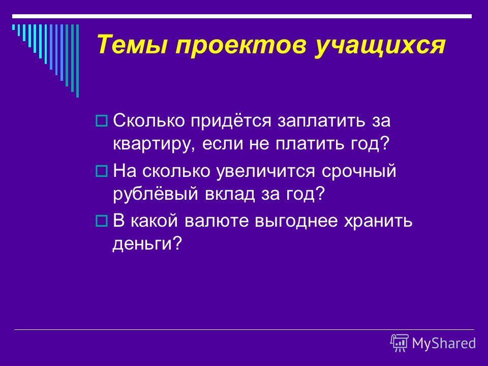 Темы проектов учащихся Сколько придётся заплатить за квартиру, если не платить год? На сколько увеличится срочный рублёвый вклад за год? В какой валюте выгоднее хранить деньги?