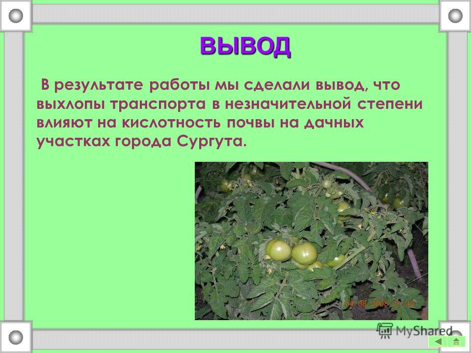 ВЫВОД В результате работы мы сделали вывод, что выхлопы транспорта в незначительной степени влияют на кислотность почвы на дачных участках города Сургута.