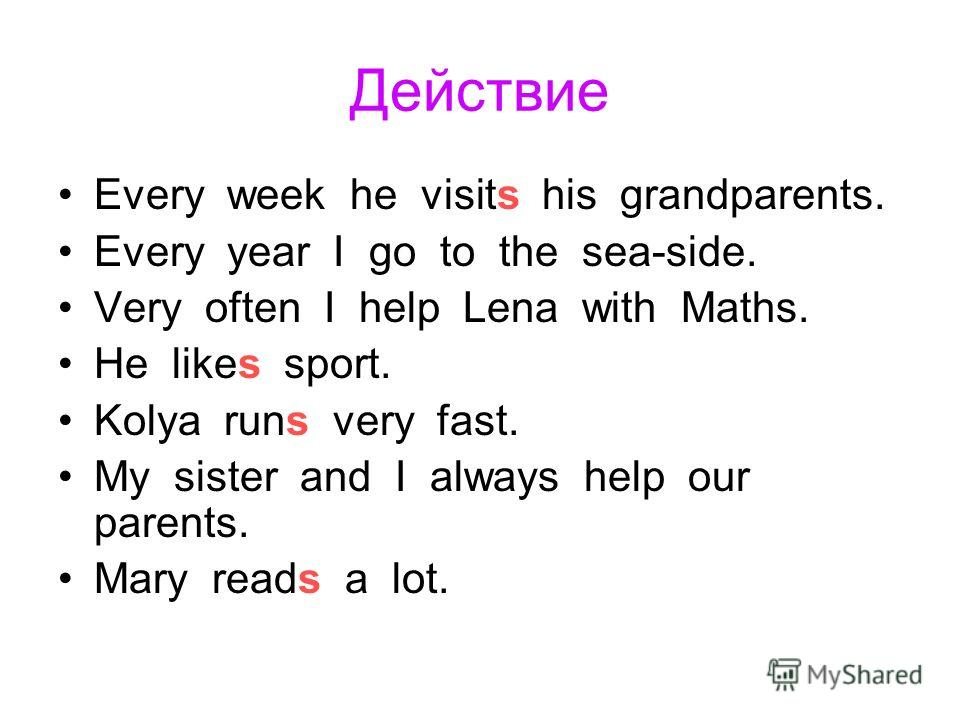 Действие Every week he visits his grandparents. Every year I go to the sea-side. Very often I help Lena with Maths. He likes sport. Kolya runs very fast. My sister and I always help our parents. Mary reads a lot.
