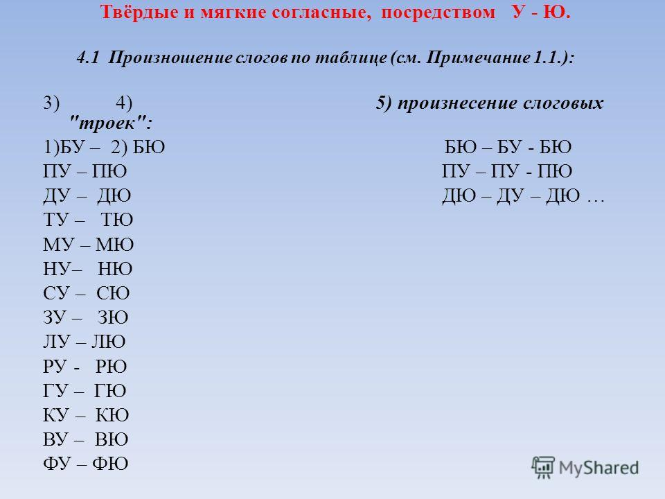 Твёрдые и мягкие согласные, посредством У - Ю. 4.1 Произношение слогов по таблице (см. Примечание 1.1.): 3) 4)5) произнесение слоговых