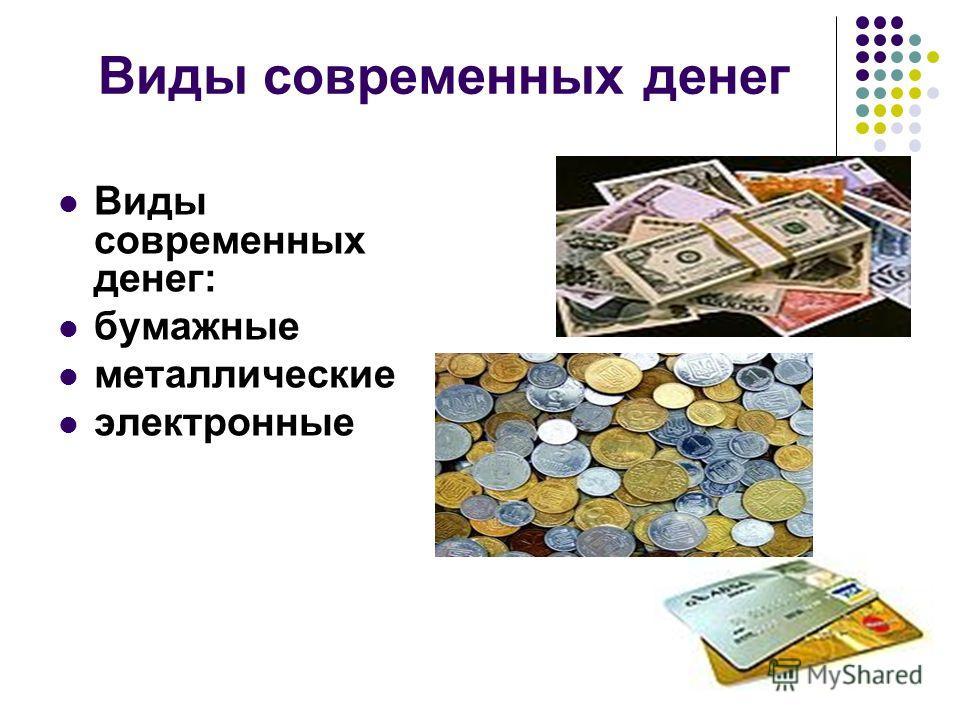 Виды современных денег Виды современных денег: бумажные металлические электронные