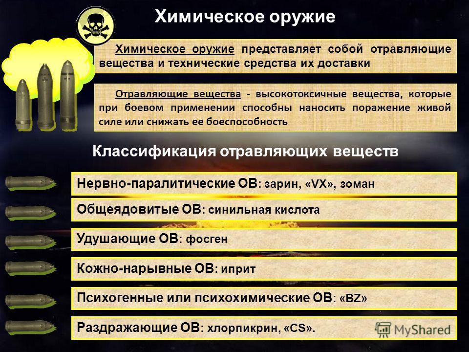 Химическое оружие представляет собой отравляющие вещества и технические средства их доставки Химическое оружие Отравляющие вещества - высокотоксичные вещества, которые при боевом применении способны наносить поражение живой силе или снижать ее боеспо