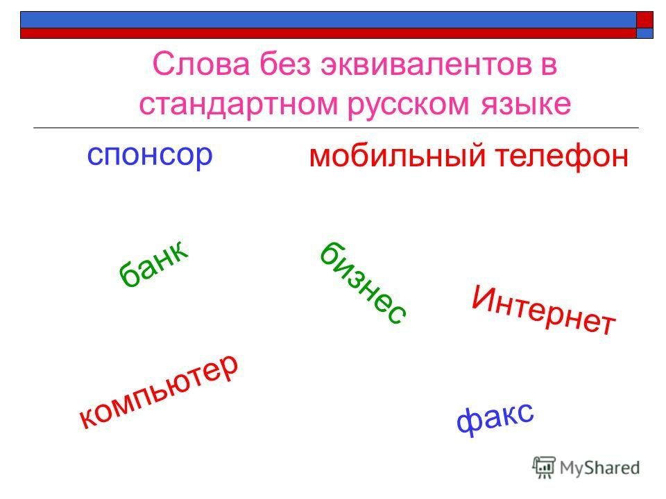 Слова без эквивалентов в стандартном русском языке банк бизнес Интернет компьютер факс спонсор мобильный телефон
