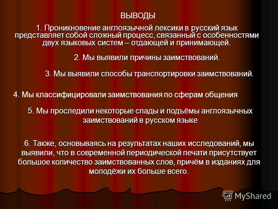 ВЫВОДЫ 1. Проникновение англоязычной лексики в русский язык представляет собой сложный процесс, связанный с особенностями двух языковых систем – отдающей и принимающей. 2. Мы выявили причины заимствований. 3. Мы выявили способы транспортировки заимст