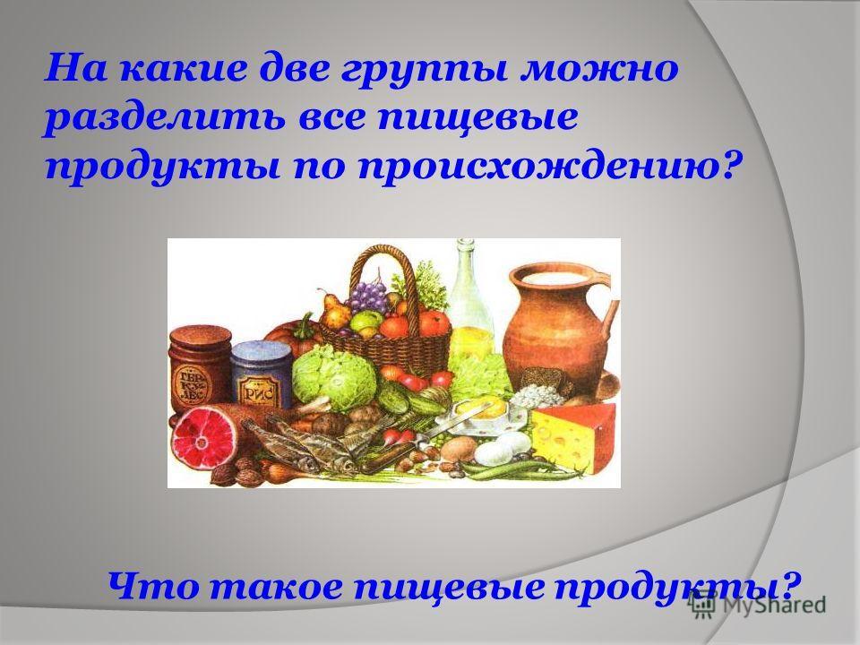 На какие две группы можно разделить все пищевые продукты по происхождению? Что такое пищевые продукты?