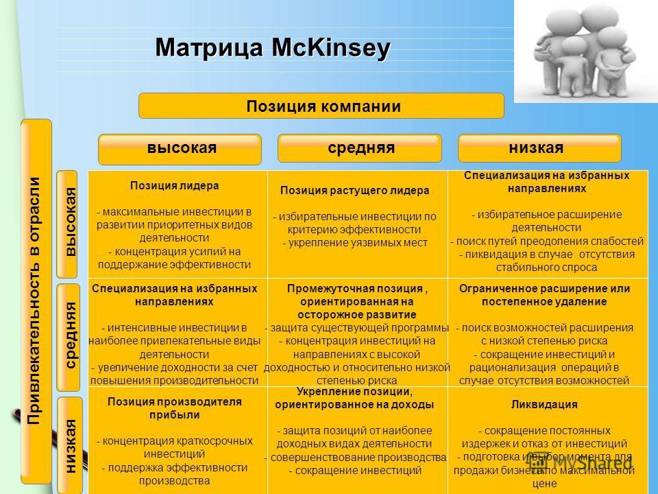 www.themegallery.com Матрица McKinsey Позиция лидера - максимальные инвестиции в развитии приоритетных видов деятельности - концентрация усилий на поддержание эффективности Позиция растущего лидера - избирательные инвестиции по критерию эффективности