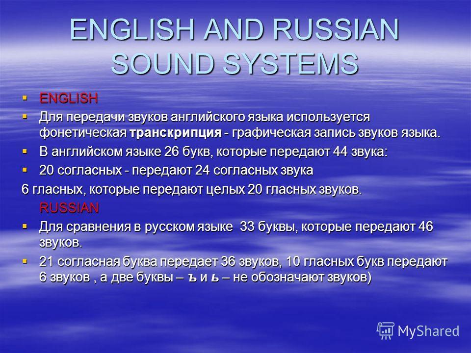 ENGLISH ENGLISH Для передачи звуков английского языка используется фонетическая транскрипция - графическая запись звуков языка. Для передачи звуков английского языка используется фонетическая транскрипция - графическая запись звуков языка. В английск