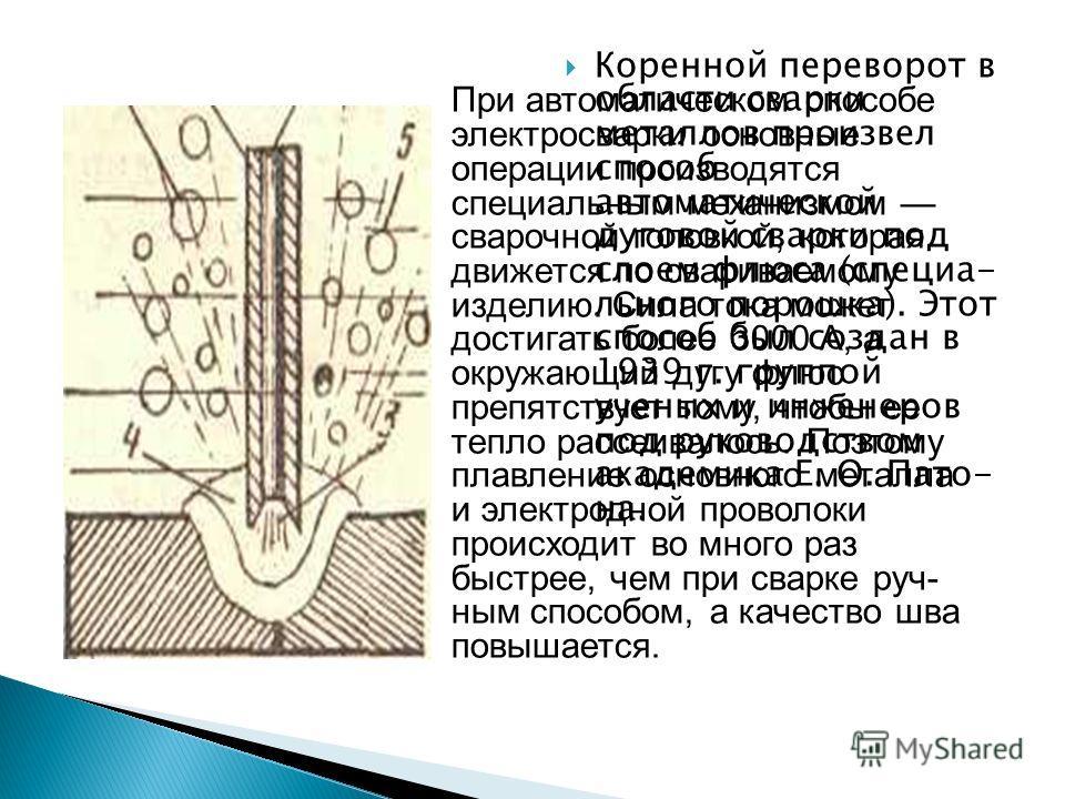 Коренной переворот в области сварки металлов произвел способ автоматической дуговой сварки под слоем флюса (специа льного порошка). Этот способ был создан в 1939 г. группой ученых и инженеров под руководством академика Е. О. Пато- на. При автоматиче