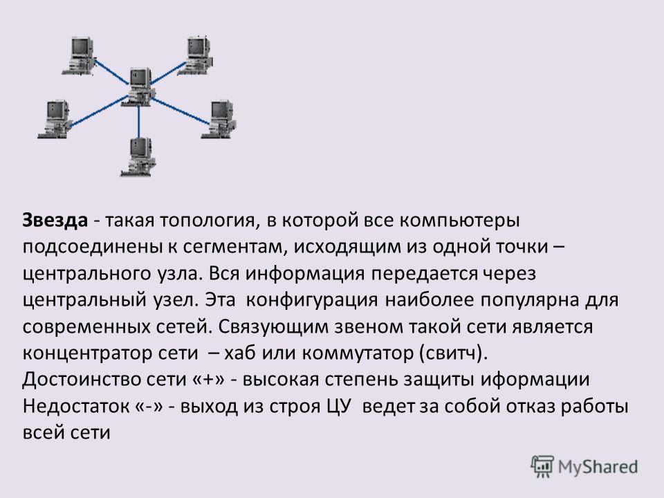 Звезда - такая топология, в которой все компьютеры подсоединены к сегментам, исходящим из одной точки – центрального узла. Вся информация передается через центральный узел. Эта конфигурация наиболее популярна для современных сетей. Связующим звеном т