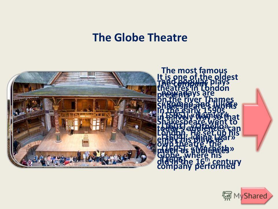 It is one of the oldest theatres in London on the river Thames In the early 1590s, Shakespeare went to London. He set up his own theatre, the Globe, where his company performed The Globe Theatre The company presents Shakespeare's works in a lively wa