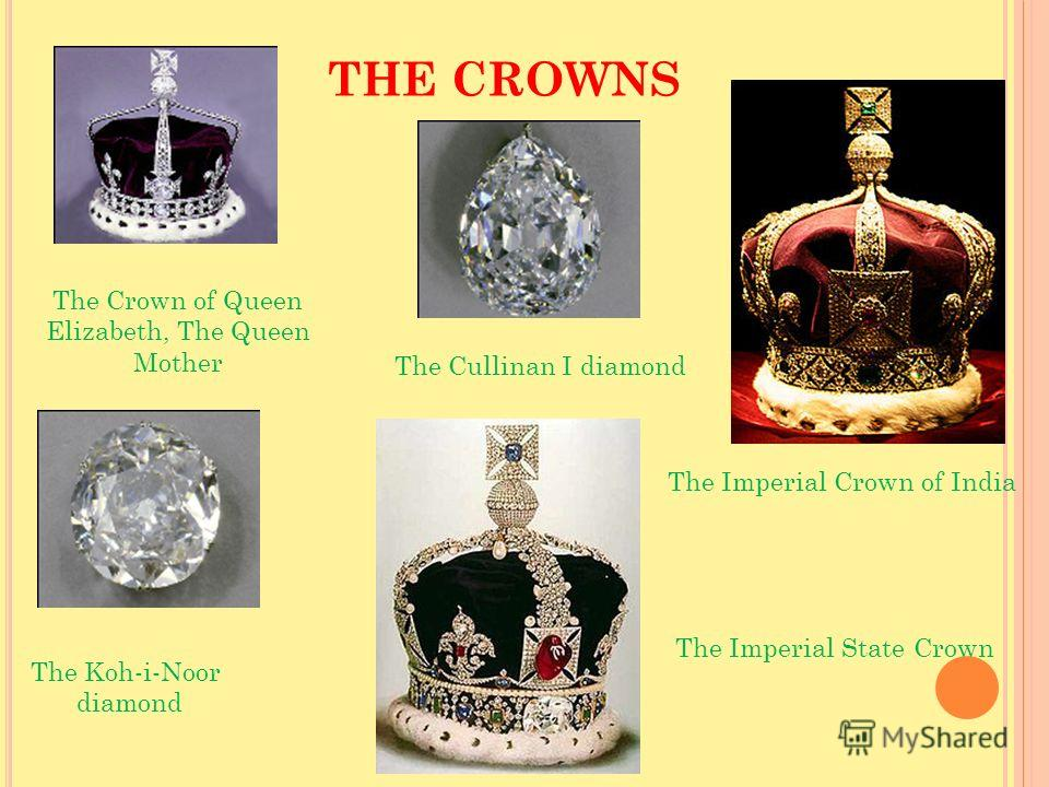 THE CROWNS The Imperial Crown of India The Crown of Queen Elizabeth, The Queen Mother The Cullinan I diamond The Koh-i-Noor diamond The Imperial State Crown