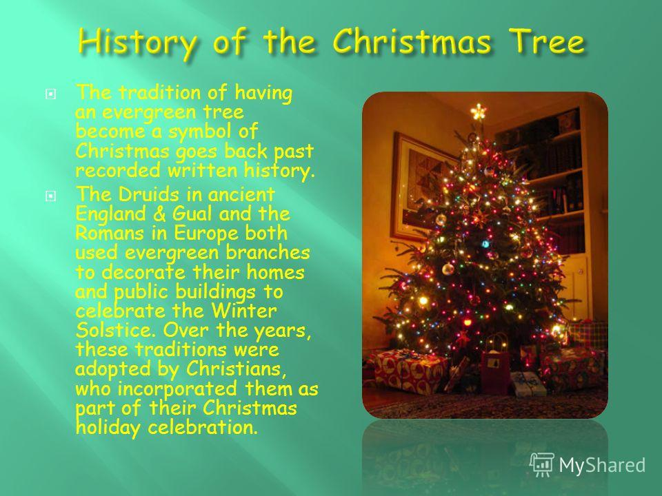 The tradition of having an evergreen tree become a symbol of Christmas goes back past recorded written history. The Druids in ancient England & Gual and the Romans in Europe both used evergreen branches to decorate their homes and public buildings to