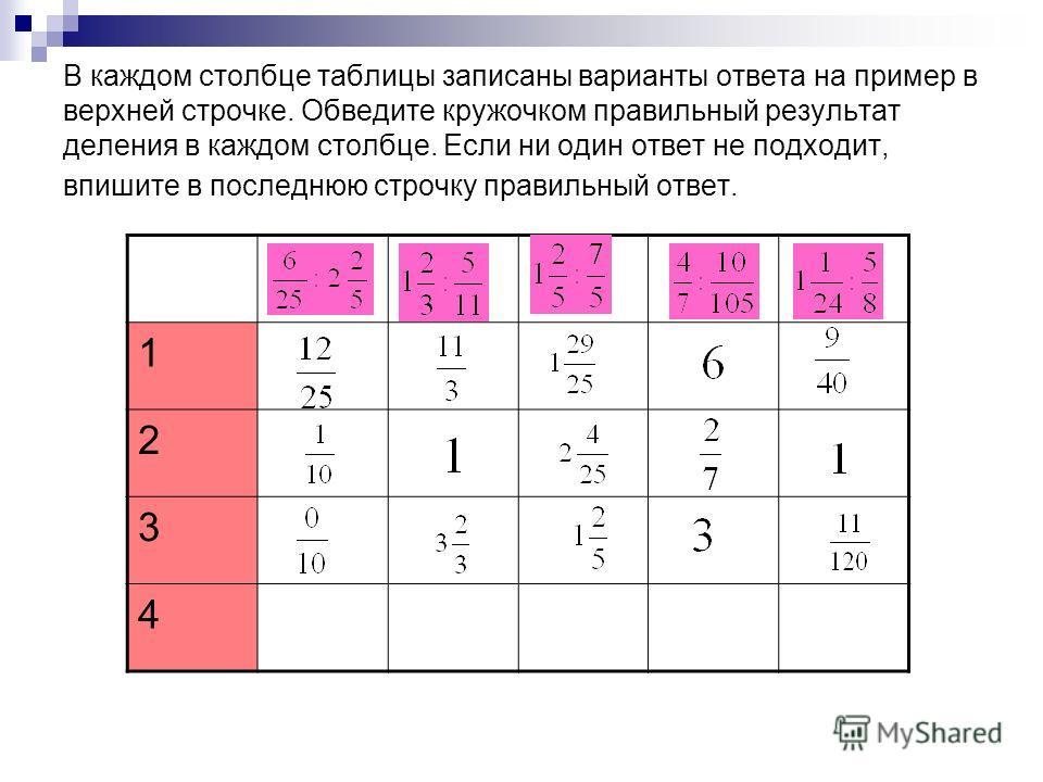 В каждом столбце таблицы записаны варианты ответа на пример в верхней строчке. Обведите кружочком правильный результат деления в каждом столбце. Если ни один ответ не подходит, впишите в последнюю строчку правильный ответ. 1 2 3 4