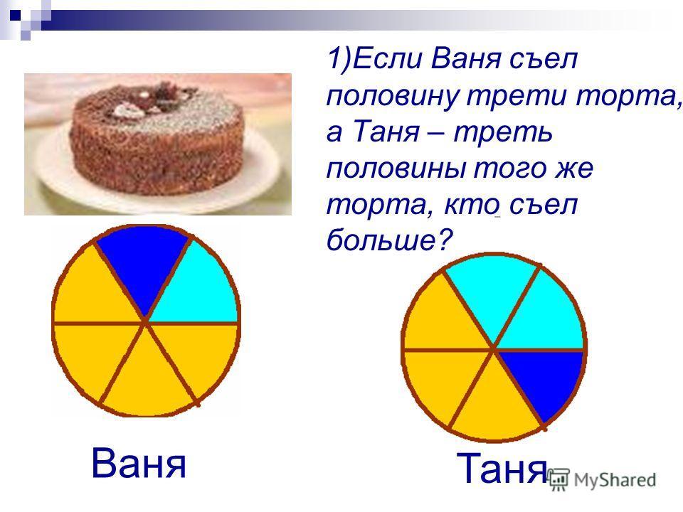 1)Если Ваня съел половину трети торта, а Таня – треть половины того же торта, кто съел больше? Ваня Таня