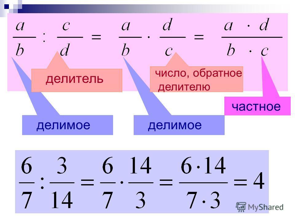 делимое делитель число, обратное делителю частное