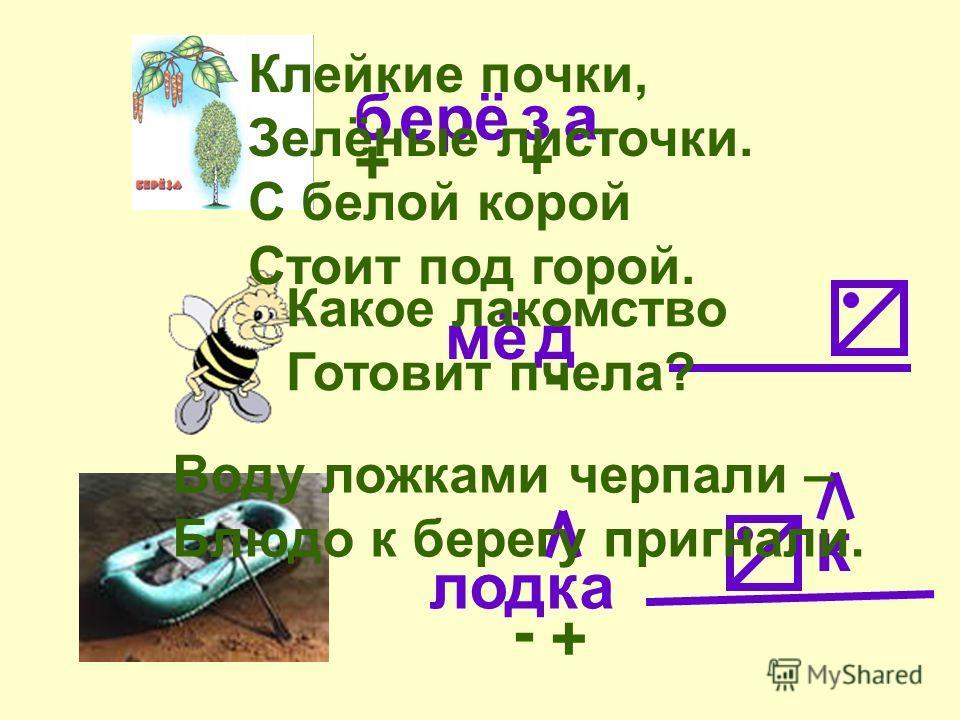 ерё а мё ло а + + - - бз д дк к + Клейкие почки, Зелёные листочки. С белой корой Стоит под горой. Какое лакомство Готовит пчела? Воду ложками черпали – Блюдо к берегу пригнали.