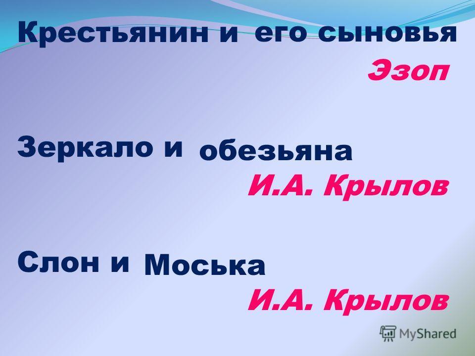 Крестьянин и Эзоп Зеркало и И.А. Крылов Слон и И.А. Крылов его сыновья обезьяна Моська