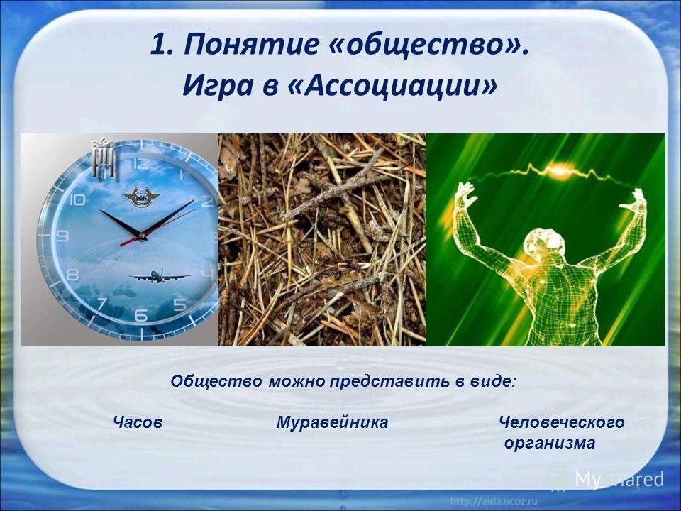 1. Понятие «общество». Игра в «Ассоциации» 5 Общество можно представить в виде: Часов Муравейника Человеческого организма