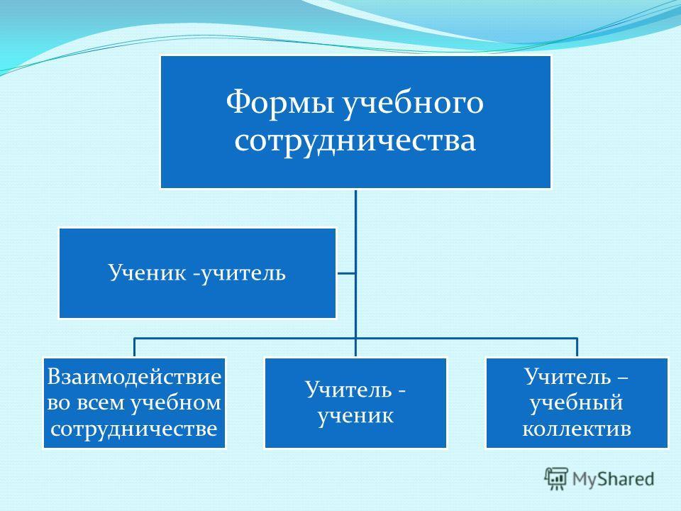 Формы учебного сотрудничества Взаимодействие во всем учебном сотрудничестве Учитель - ученик Учитель – учебный коллектив Ученик -учитель