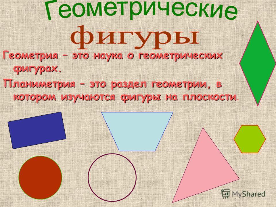 Геометрия – это наука о геометрических фигурах. Планиметрия – это раздел геометрии, в котором изучаются фигуры на плоскости Планиметрия – это раздел геометрии, в котором изучаются фигуры на плоскости.