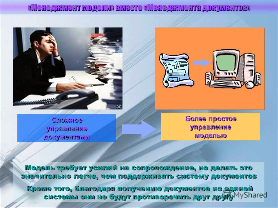 Сложное управление документами Более простое управление моделью Модель требует усилий на сопровождение, но делать это значительно легче, чем поддерживать систему документов Кроме того, благодаря получению документов из единой системы они не будут про