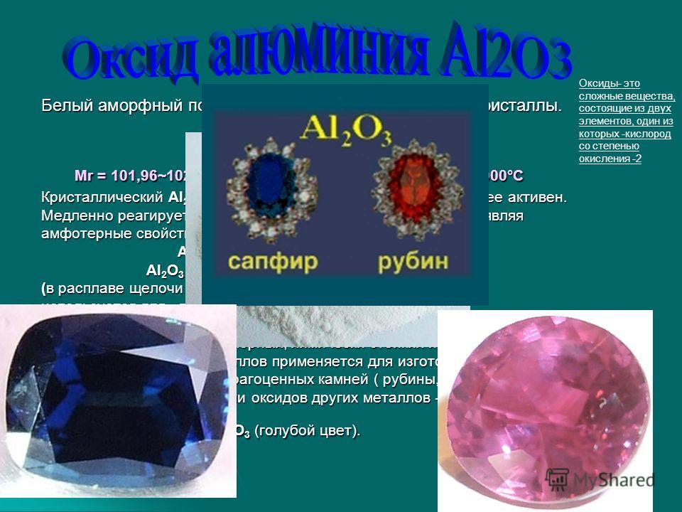 Белый аморфный порошок или очень твердые белые кристаллы. Физические константы: Физические константы: Мr = 101,96~102, р = 3,97 г/см3 tпл=2053°С, tкип=3000°С Мr = 101,96~102, р = 3,97 г/см3 tпл=2053°С, tкип=3000°С Кристаллический Аl 2 О 3 химически п