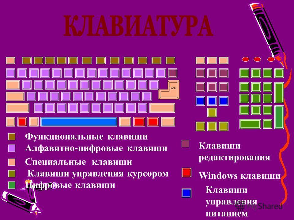Функциональные клавиши Алфавитно-цифровые клавиши Специальные клавиши Клавиши управления курсором Цифровые клавиши Клавиши редактирования Windows клавиши Клавиши управления питанием
